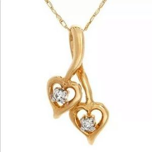 Jewelry - Diamond Solid Yellow Gold Two Hearts Necklace